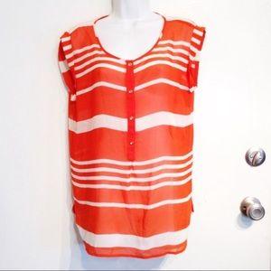 LOFT Orange & White Striped Popover Blouse